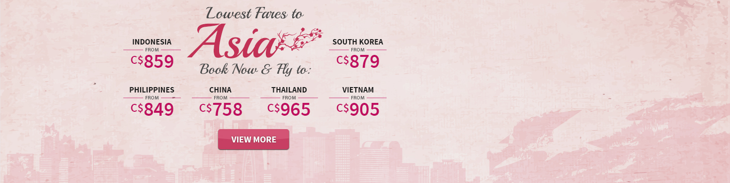 Cheap Flights from Canada to Asia - Save up to 50% off
