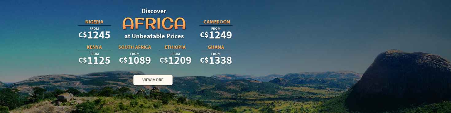 Cheap Flights from Canada to Africa - Save up to 50% off